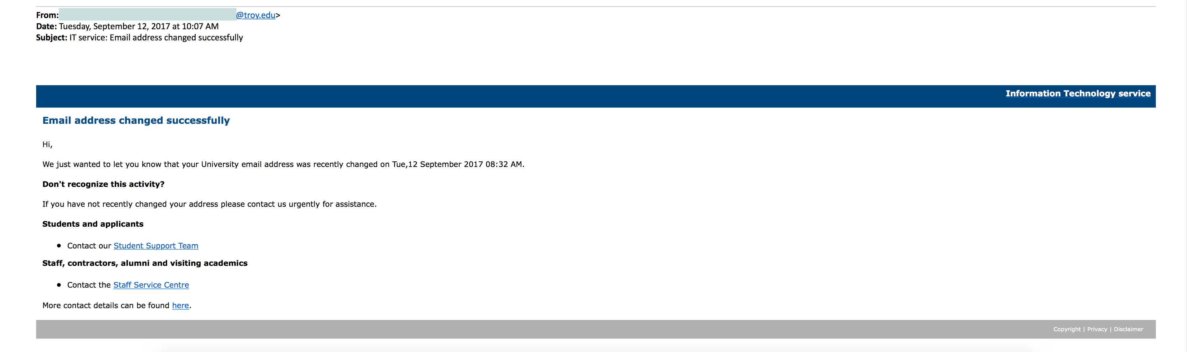 Screenshot of phishing message received in September 2017