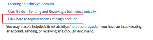 Screenshot of EchoSign Account Creation