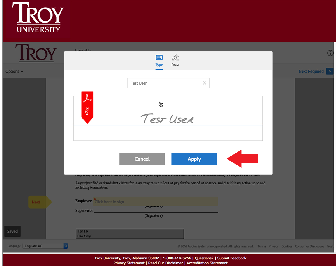 TROY - Information Technology - EchoSign - How to Submit a