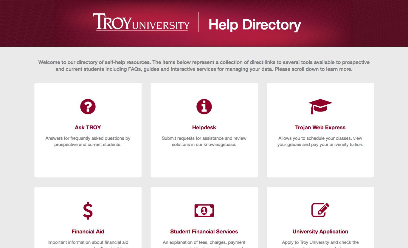 screenshot of Help website