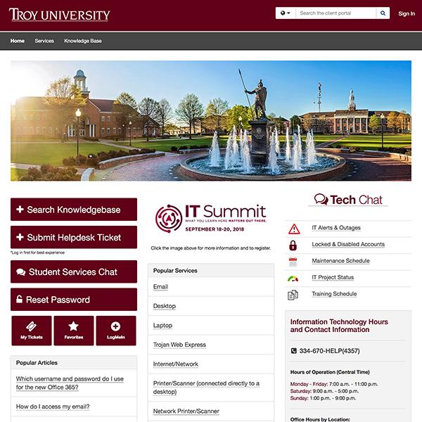 helpdesk homepage