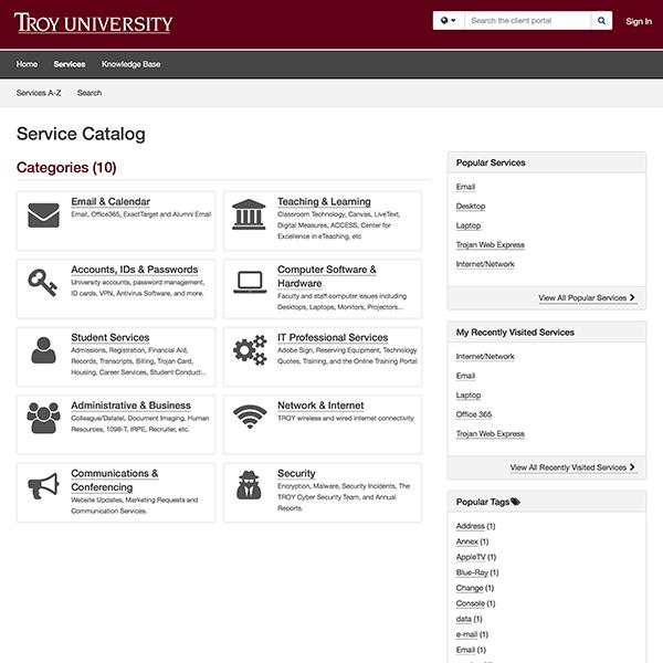 helpdesk service desk catalog